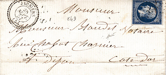 Courrier de 1857